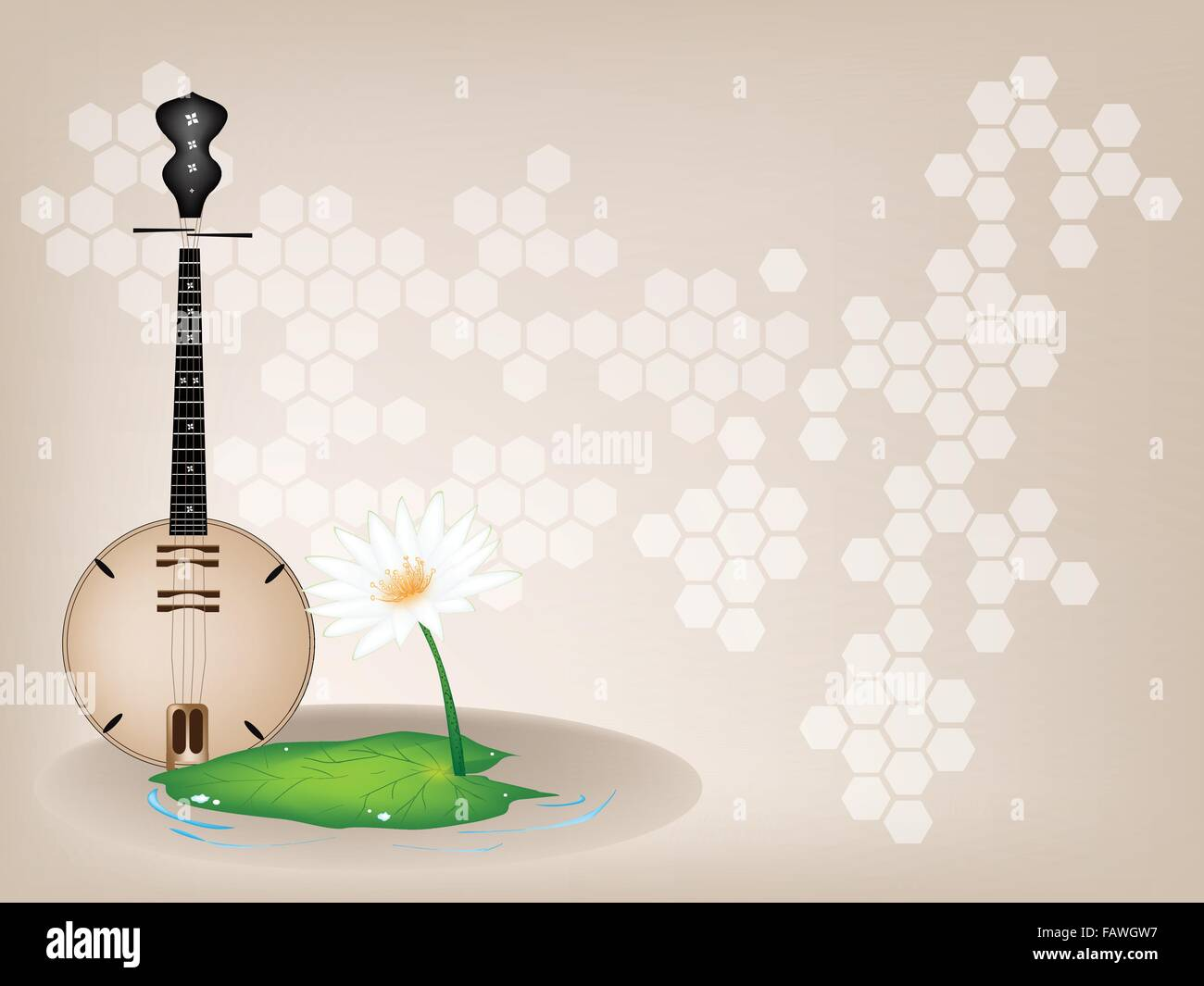 Music Instrument, An Illustration of Banjo or Dan Nguyet and White Water Lily or Lotus Flower on Beautiful Vintage - Stock Image