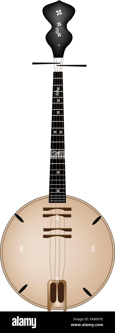 An Illustration of Traditional Vietnam Musical Instrument, Banjo or Dan Nguyet Isolated on White Background - Stock Image