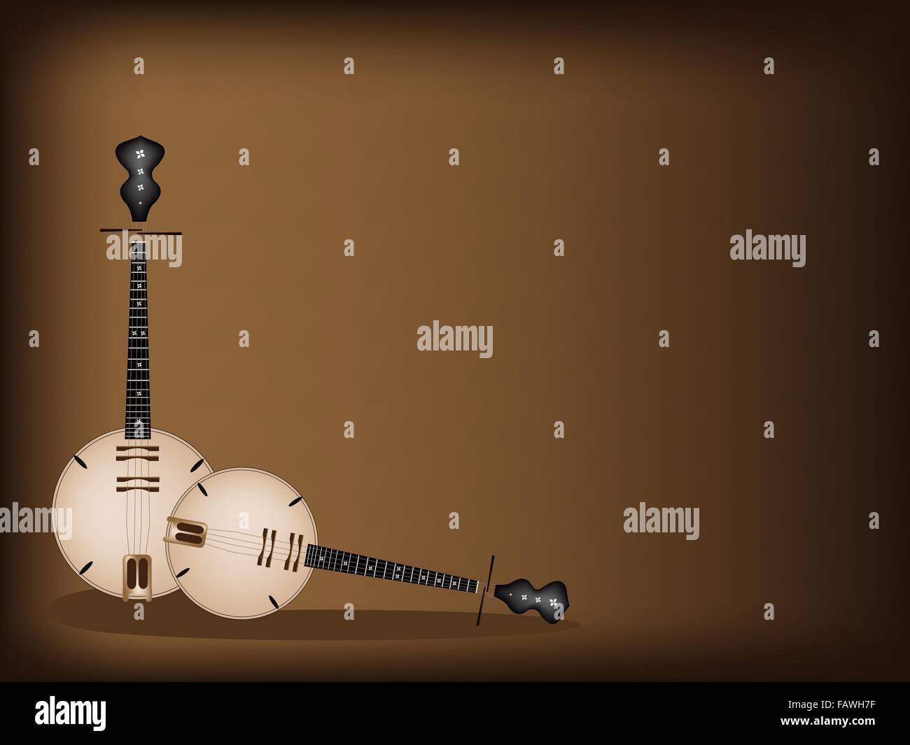 Music Instrument, An Illustration Brown Color of Banjo or Dan Nguyet on Beautiful Dark Brown Background with Copy - Stock Image