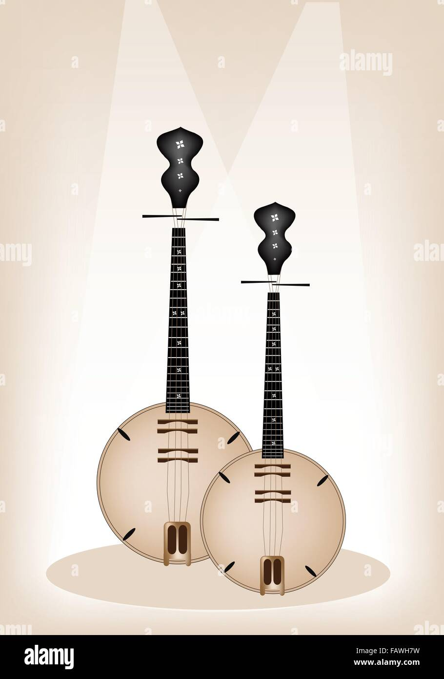 Music Instrument, An Illustration Brown Color of Banjo or Dan Nguyet on Brown Stage Background with Copy Space for - Stock Image