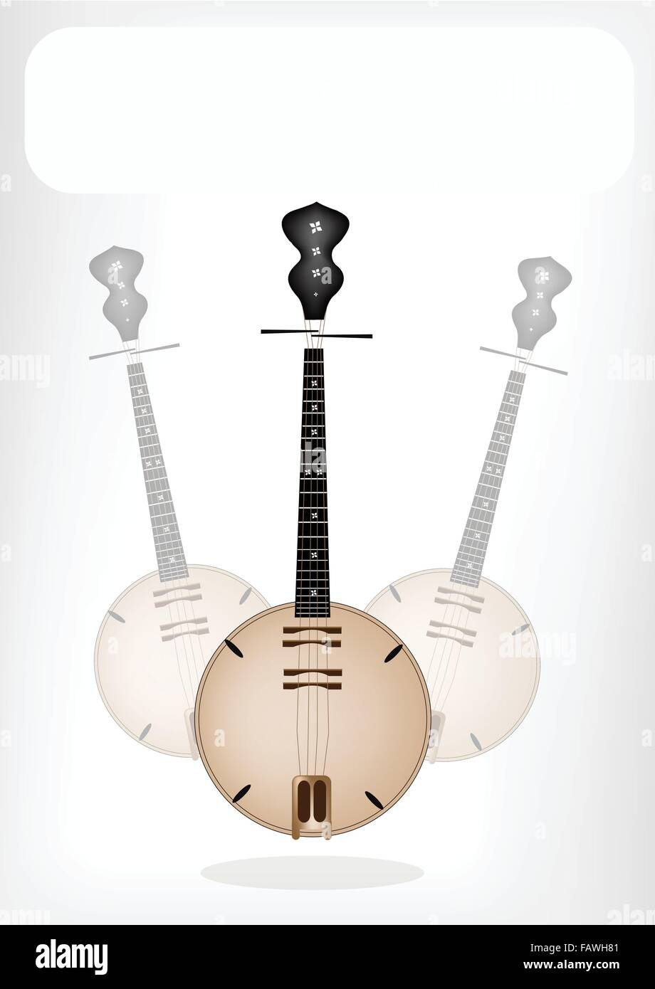 Music Instrument, An Illustration Brown Color of Banjo or Dan Nguyet with White Label for Copy Space and Text Decorated - Stock Image