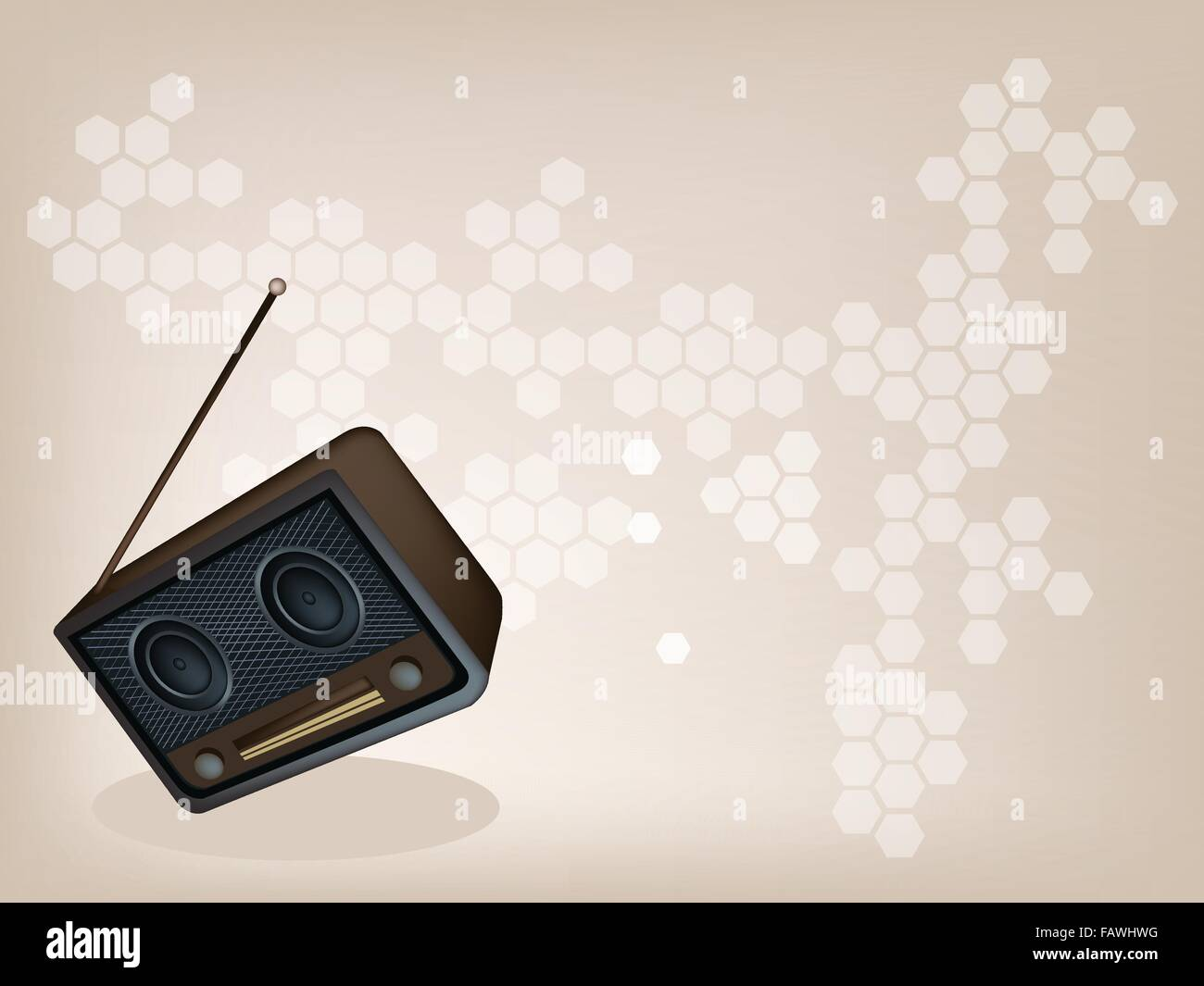 An Illustration of A Vintage or Retro Revival Radio on Brown Background with Copy Space for Text Decorated - Stock Vector