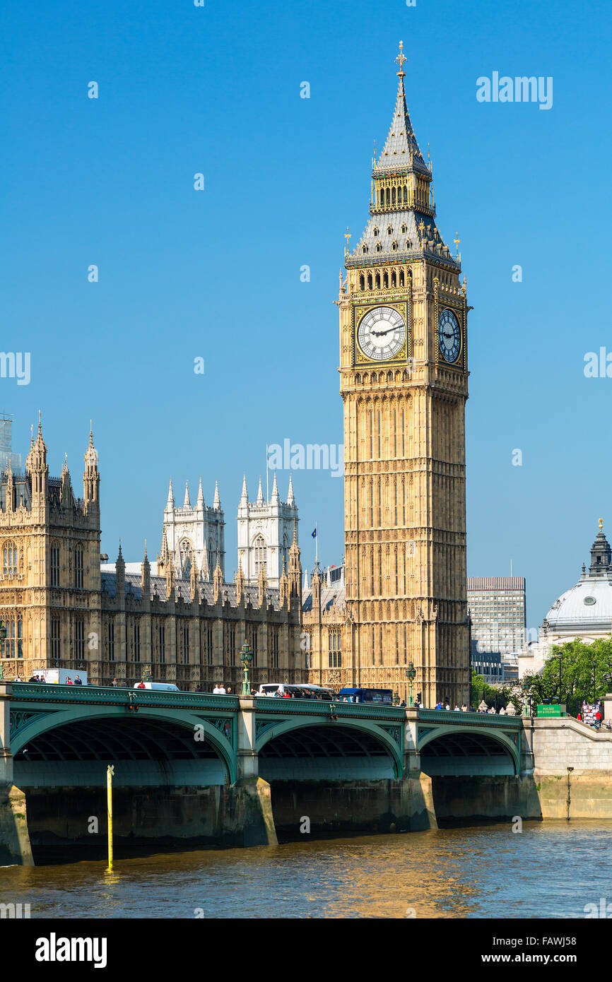 London, Big Ben Clock Tower and Westminster Bridge - Stock Image