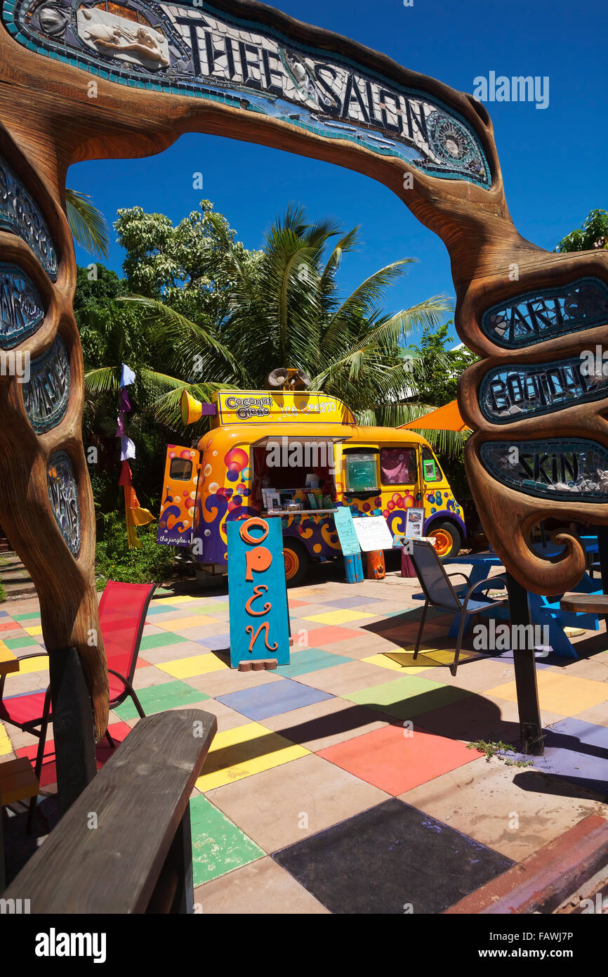 Coconut Glen's Ice Cream truck in the courtyard of Thee Salon; Paia, Maui, Hawaii, United States of America - Stock Image