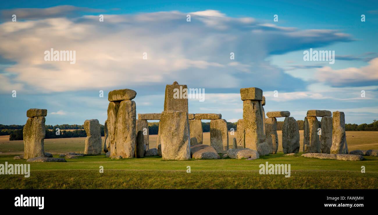 Sunset over Stonehenge near Amesbury, Wiltshire, England, UK Stock Photo