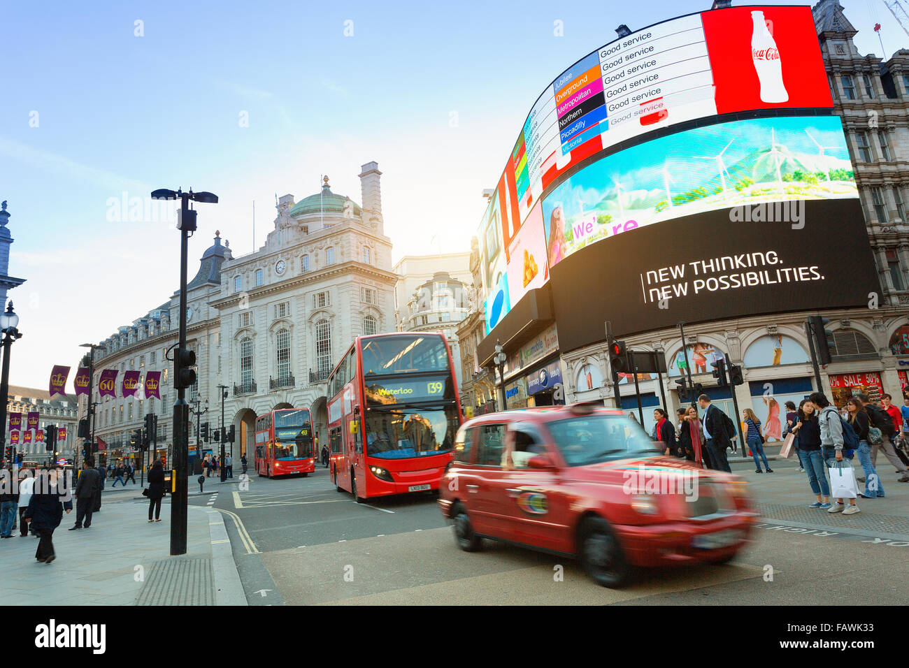 London, Piccadilly Circus at sunset - Stock Image