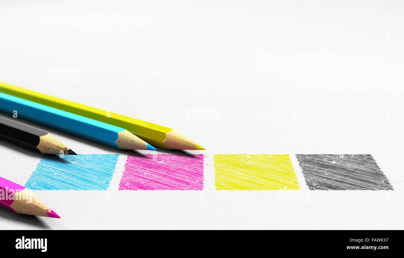 Four colors cian magenta yellow and black handwritten on a paper texture with 4 wooden pencils sourounding it . - Stock Image
