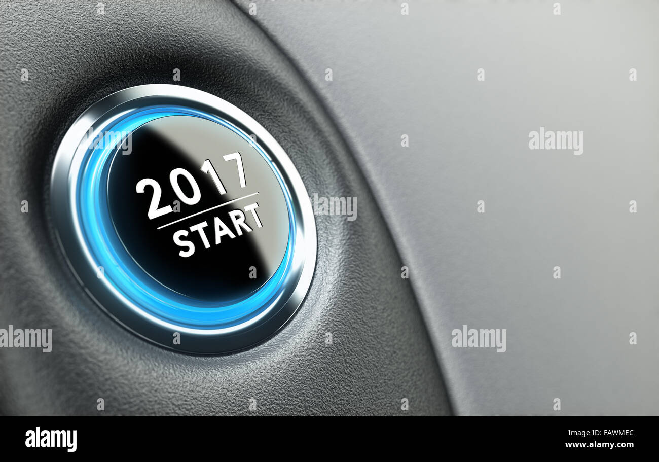2017 push button. Concept of new year, two thousand seventeen. - Stock Image