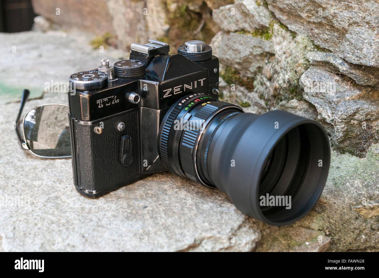 Export version of the Zenit TTL, a vintage Soviet 35mm film single lens reflex (SLR) camera manufactured by KMZ. - Stock Image