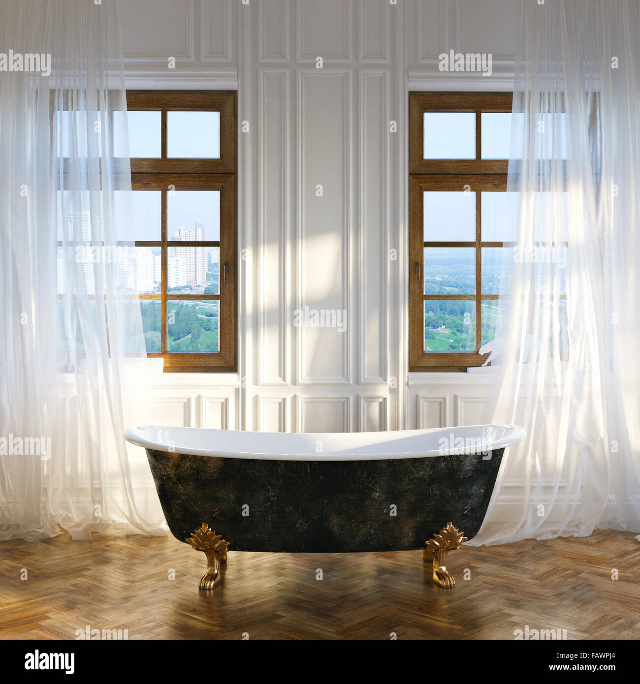 Big bathroom with vintage iron bathtub in center and big windows in ...