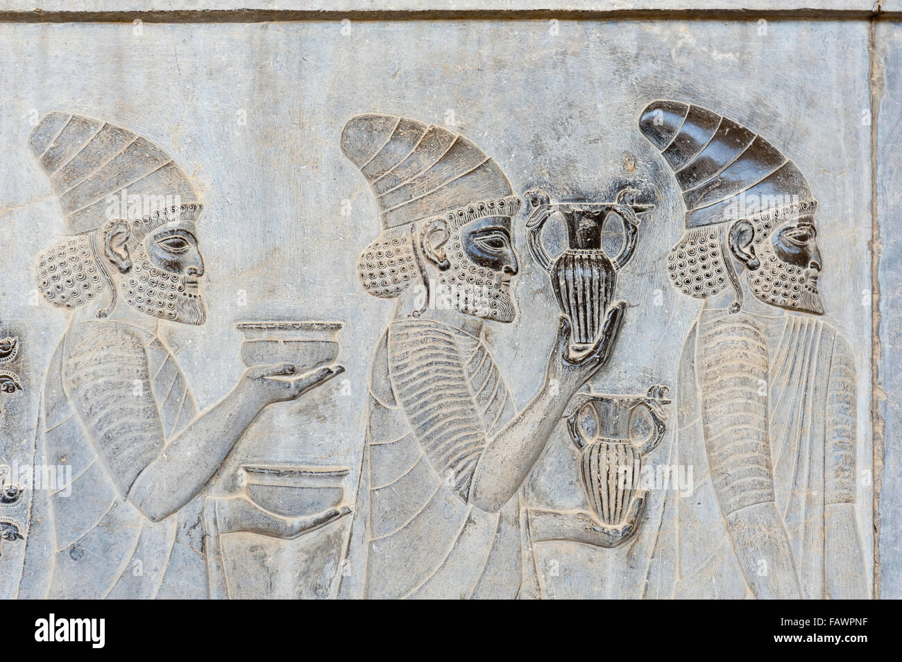 Ancient relief of the Achaemenids, Delegation of the Lydians, Apadana Palace, archaeological site - Stock Image
