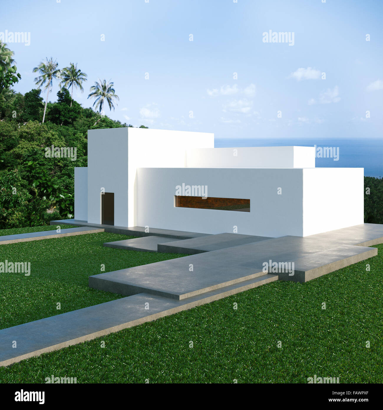 Energy efficient concrete modern house on the hill above the ocean in the jungle 3d render