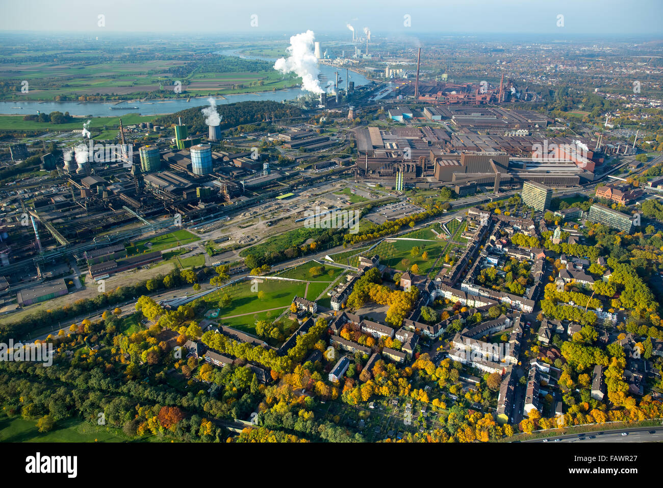 Thyssen Krupp Steel, blast furnace, heavy industry, blast furnace, Rhine, the green belt north, Bruckhausen and Stock Photo