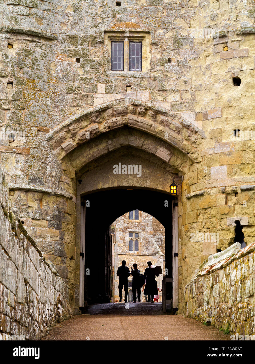 The entrance gate of Carisbrooke Castle a motte and bailey castle near Newport Isle of Wight England UK Stock Photo