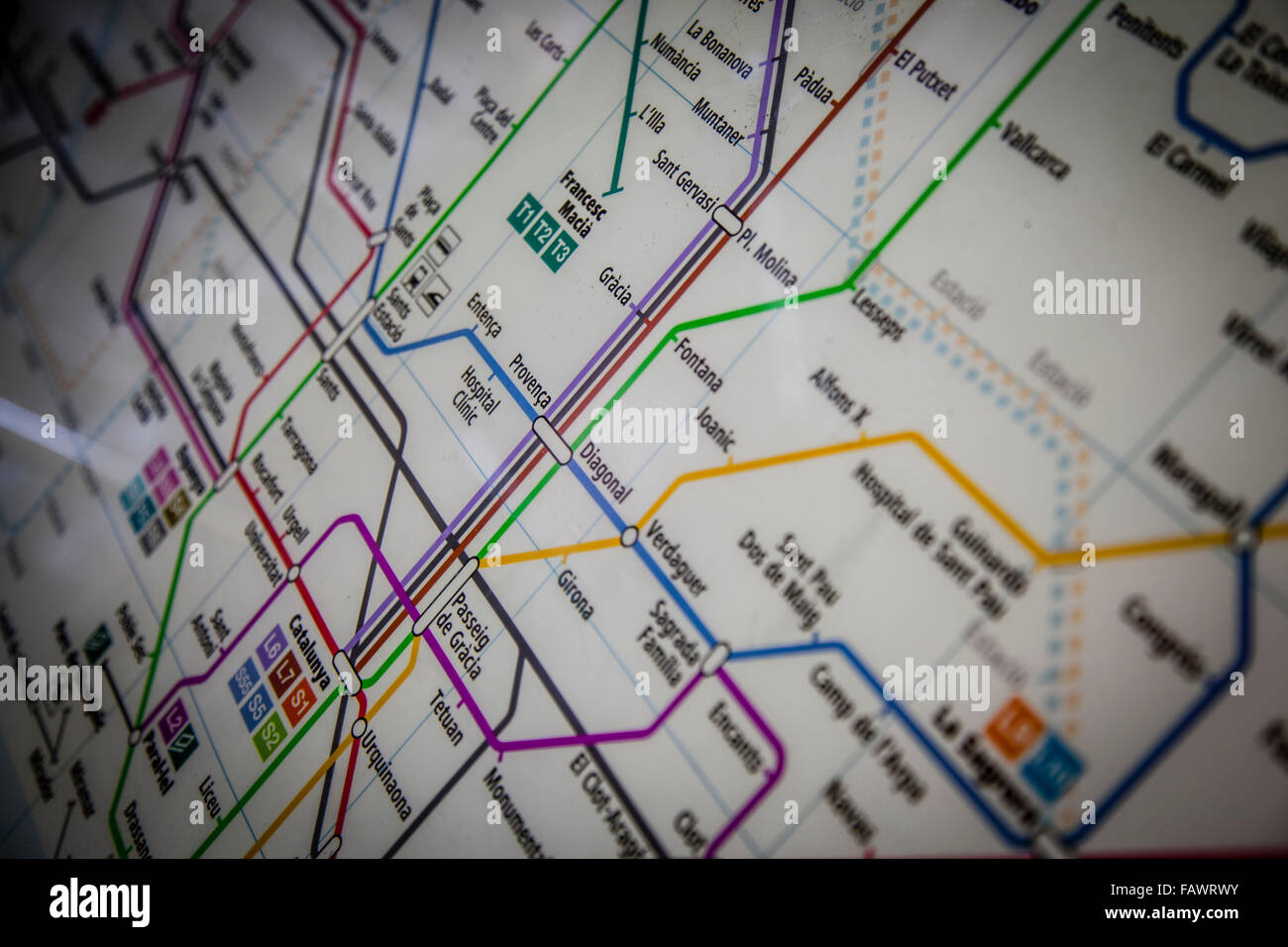 Barcelona's Metro map - Stock Image