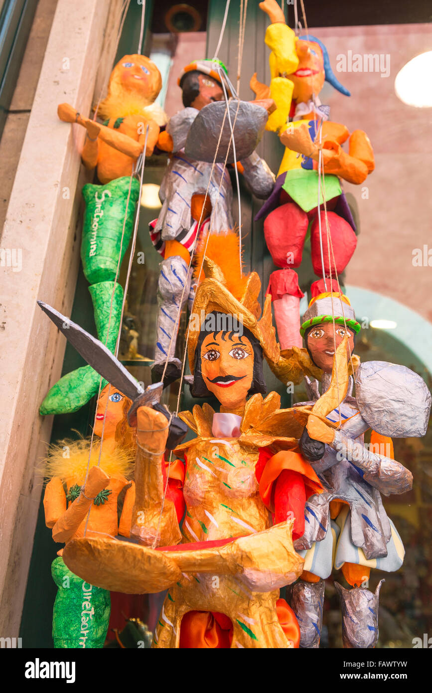 Puppet Sicily, colourful traditional papier mache puppets for sale on the Corso Umberto l in Taormina, Sicily. - Stock Image