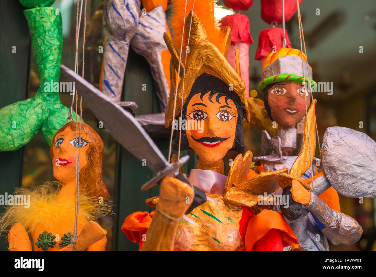 Sicily puppet, colourful traditional papier mache puppets for sale on the Corso Umberto l in Taormina, Sicily. - Stock Image