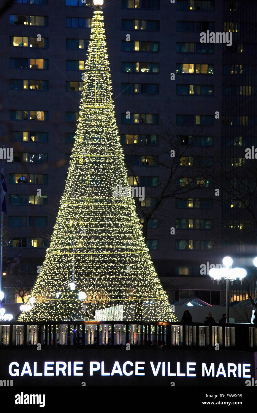 Canada, Quebec, Montreal, Place Ville Marie, Christmas tree, Stock Photo