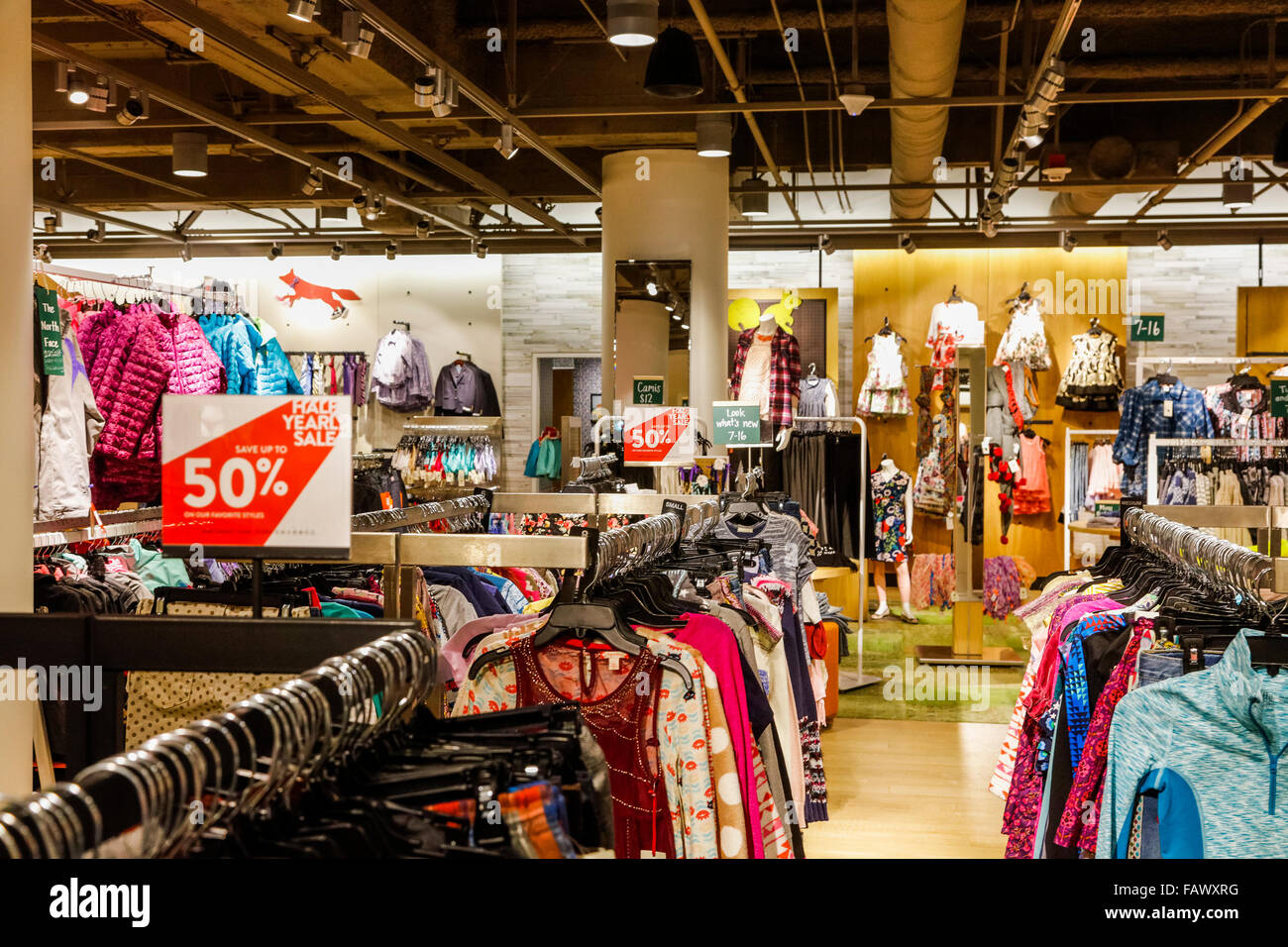 clothes on half yearly sale, Nordstrom department store, downtown Seattle, Washington State, USA - Stock Image