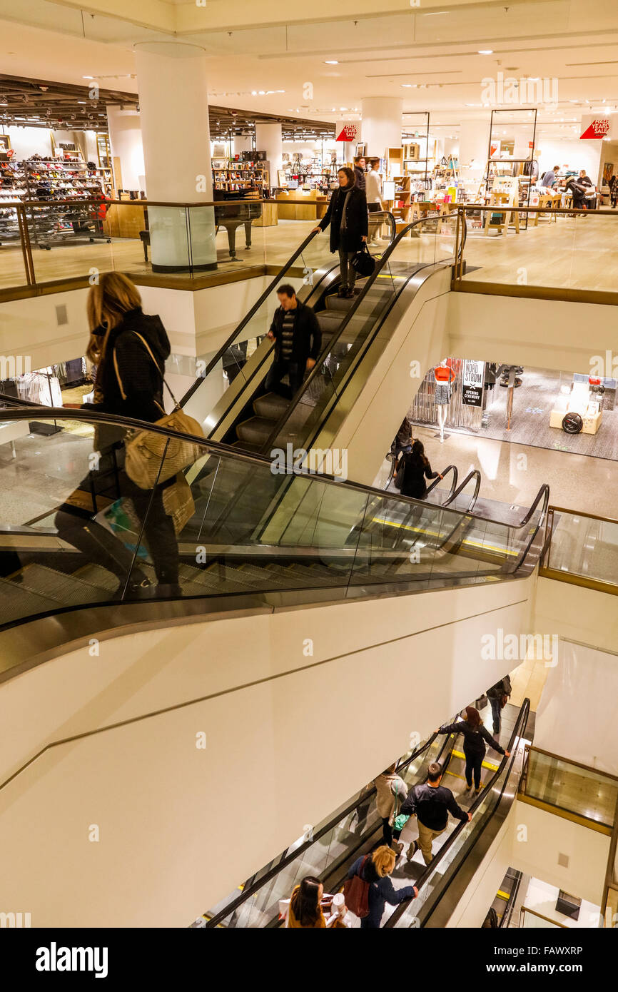 escalators at Nordstrom department store, downtown Seattle, Washington State, USA - Stock Image