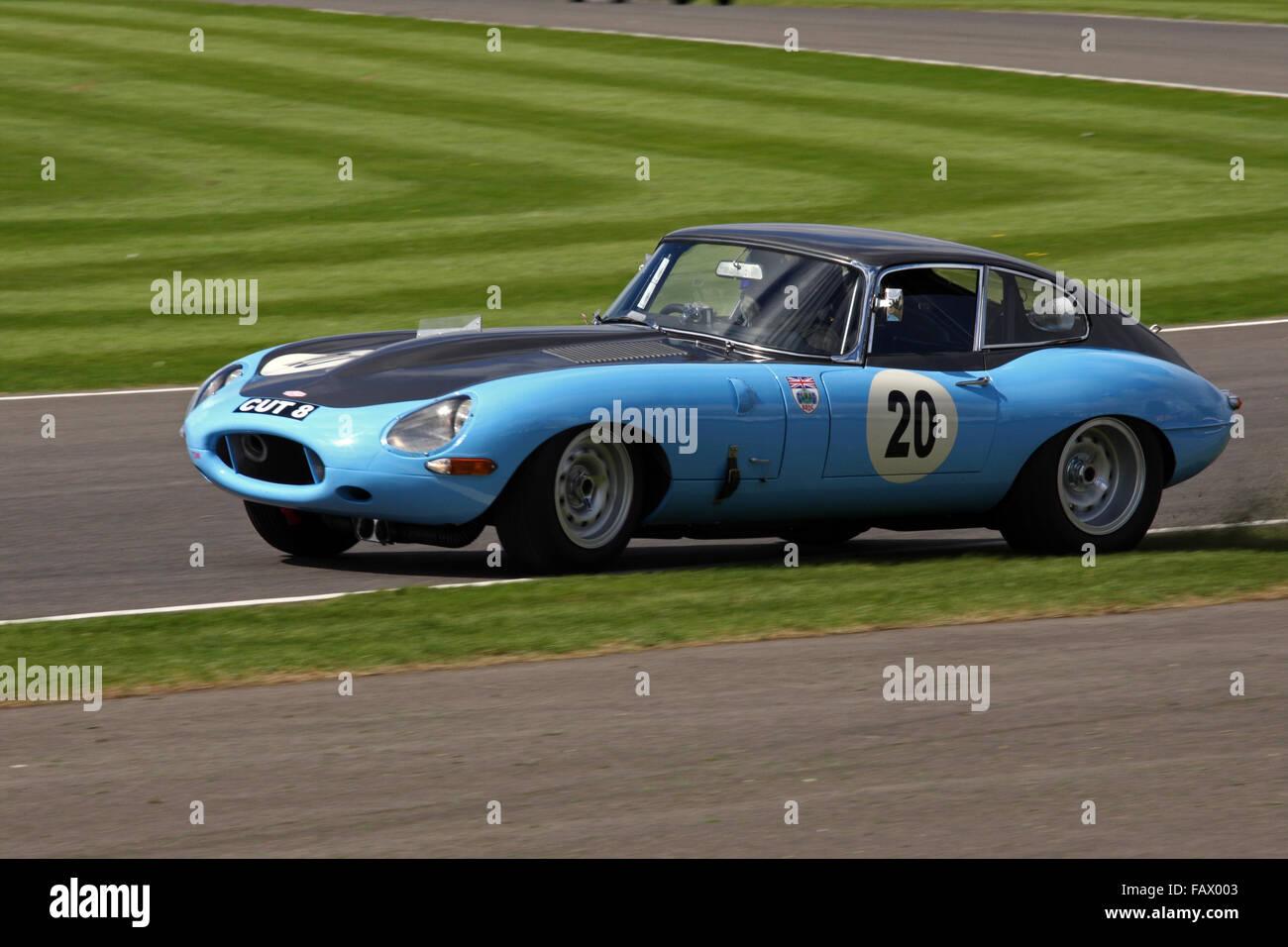 RAC TT Celebration race. No 20 Gregor Fiskin & Bobby Verdon-Roe Jaguar E-type FHC in a spin at Goodwood Revival - Stock Image