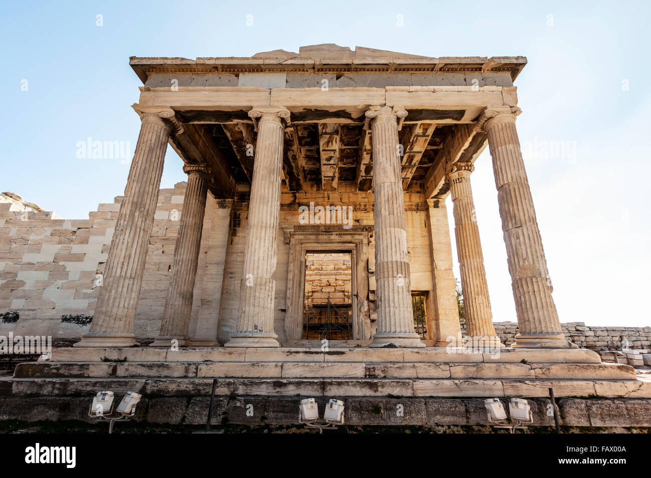 The Erechtheion, an ancient Greek temple on the North side of the Acropolis; Athens, Greece - Stock Image