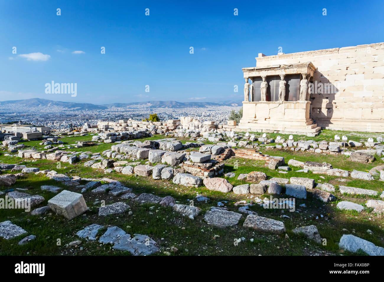 Caryatid Porch; Athens, Greece - Stock Image