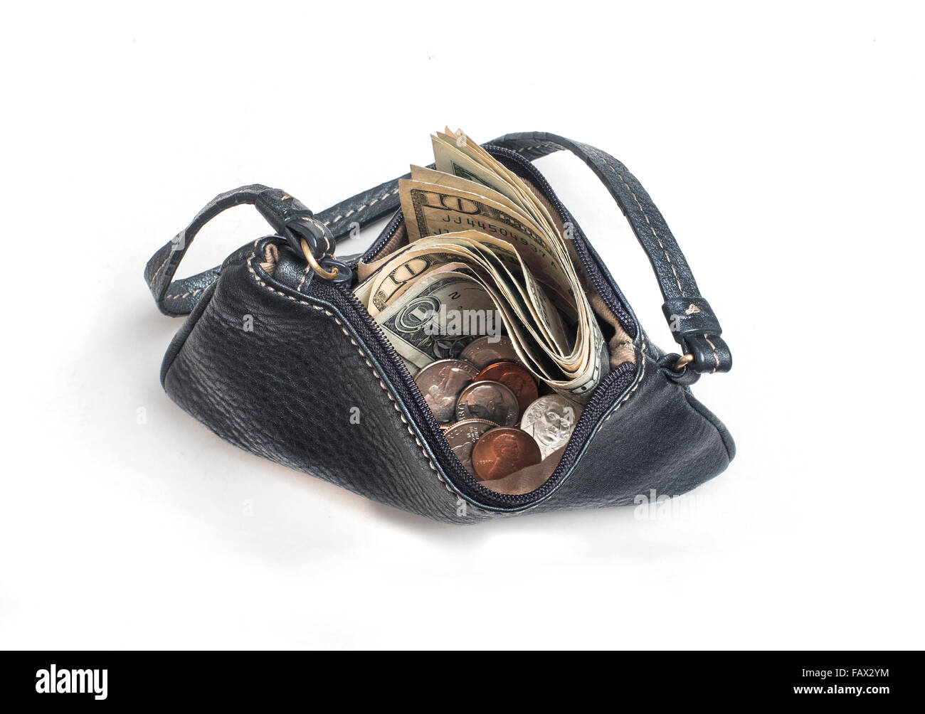 open coin purse with money viewed from above - Stock Image