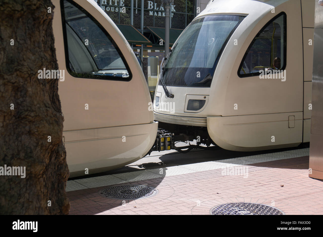 streetcars in Portland OR - Stock Image