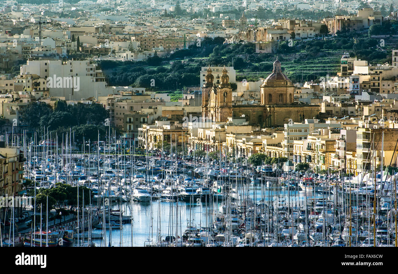Msida is a harbour town in the Central Region of Malta. The town is located just west of Valletta on the northeast - Stock Image
