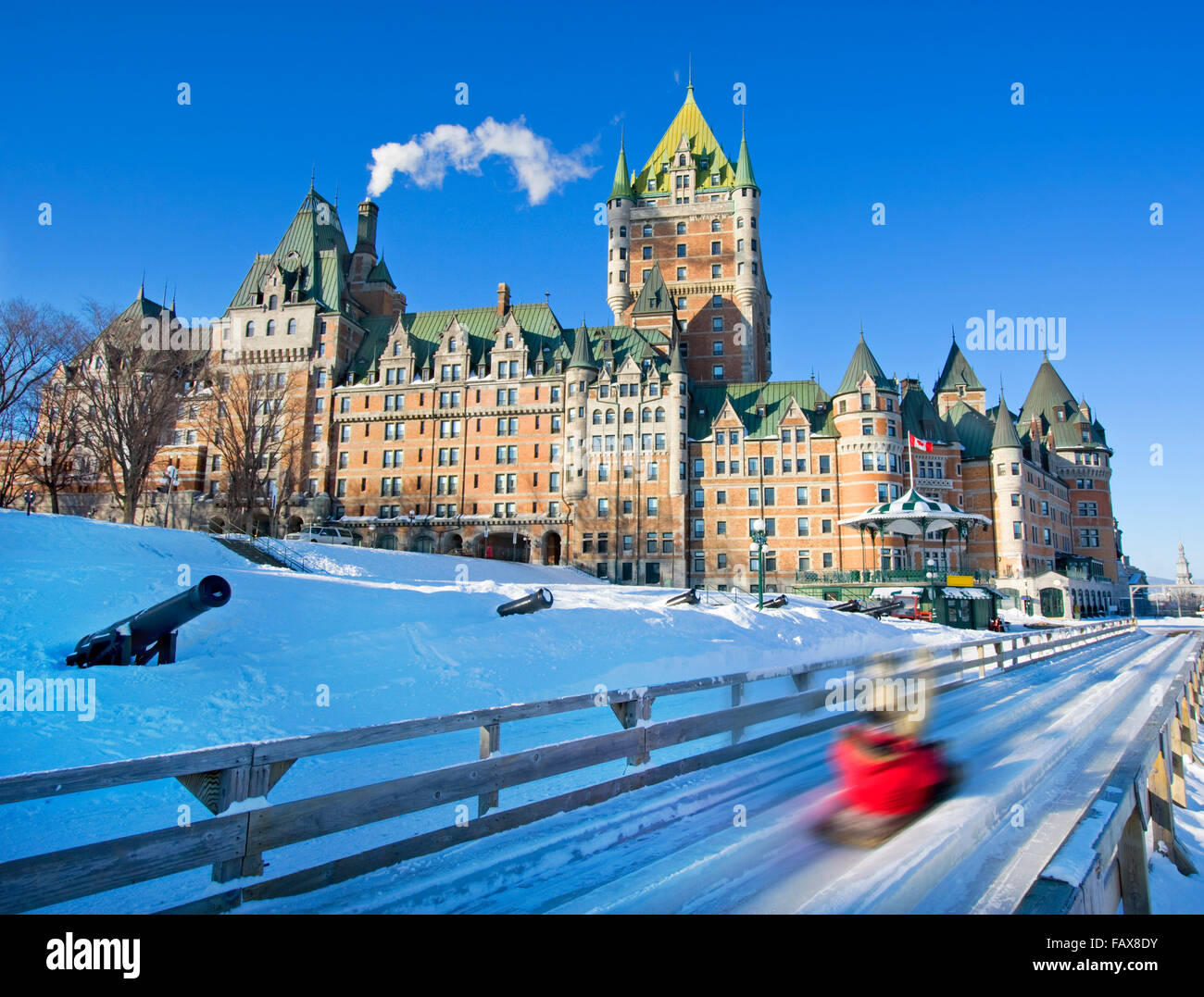 Quebec City in winter, traditional slide descent - Stock Image