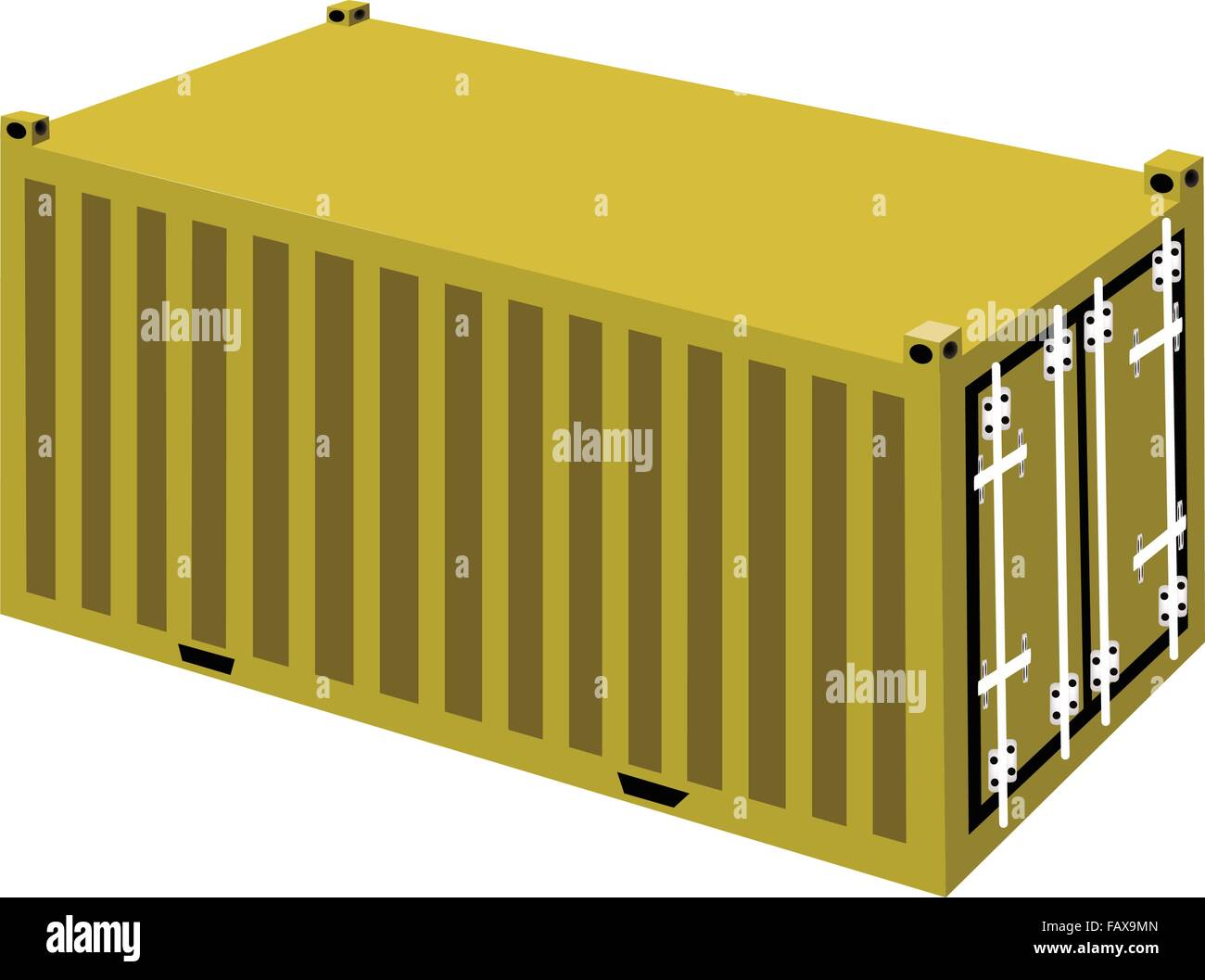 An Illustration Yellow Cargo Containers Freight Container or Stock