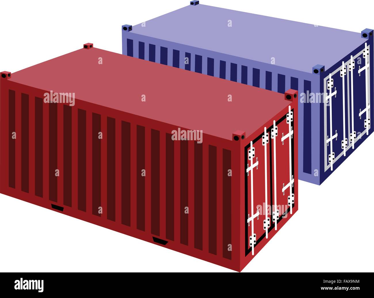 Blue and Red Cargo Containers Freight Containers or Shipping Stock