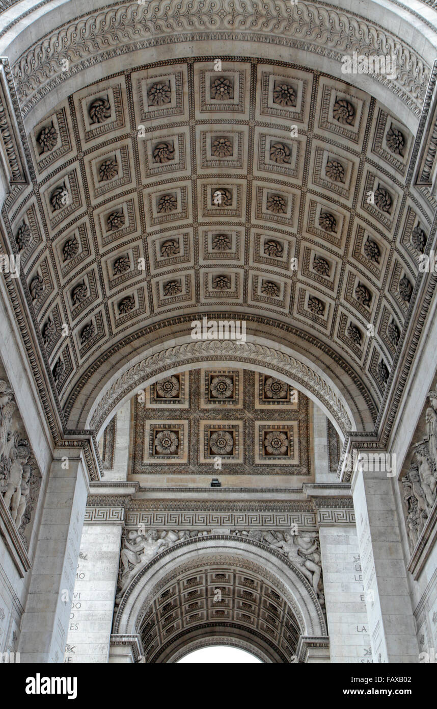 View of the inside of the arched roof of the Arc de Triomphe in Paris France. - Stock Image