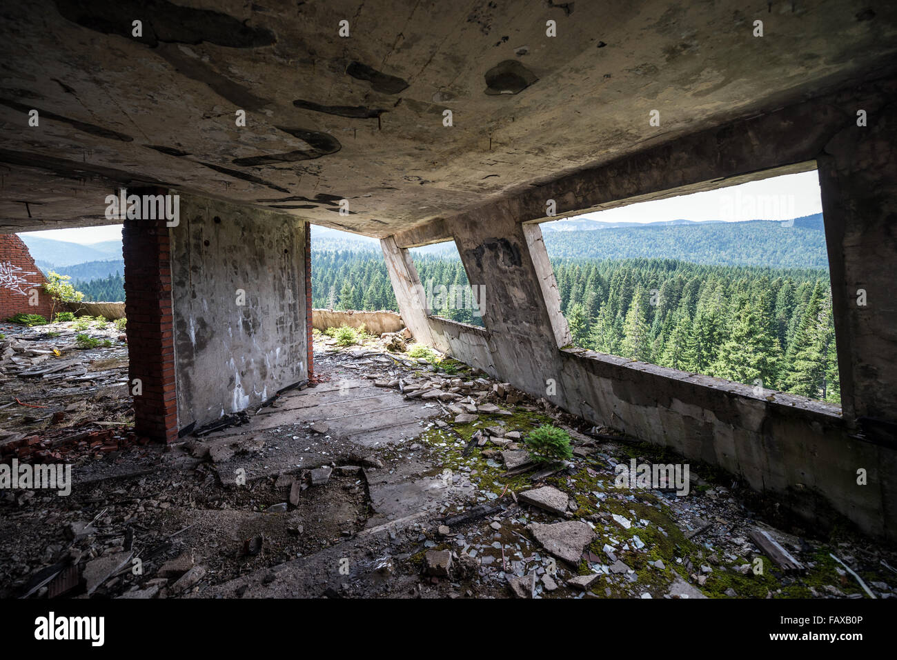 interior of Igman Hotel near Igman Olympic Jumps, destroyed during Bosnian War in Bosnia and Herzegovina - Stock Image