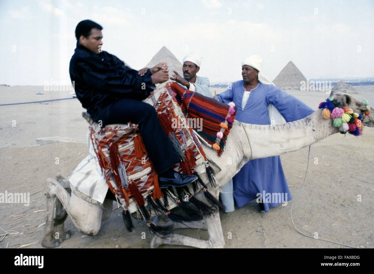 Giza Pyramids, Cairo, Egypt - 1986 - World heavyweight boxing champion Muhammad Ali on a goodwill visit to Egypt. - Stock Image
