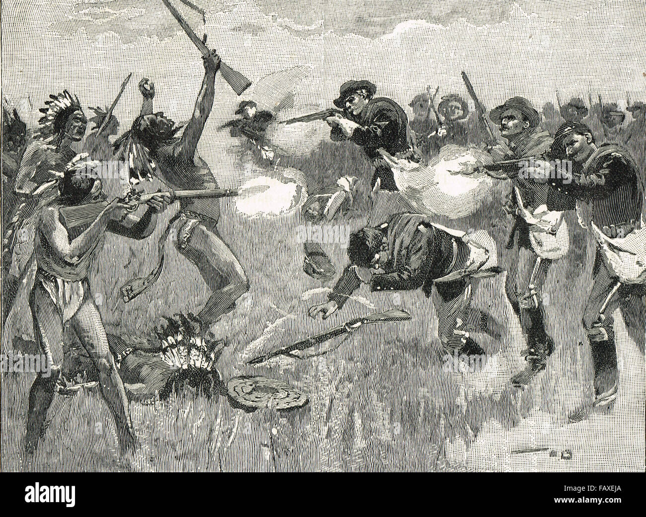 US Army fighting Sioux Indians Great Sioux War 1876 - Stock Image