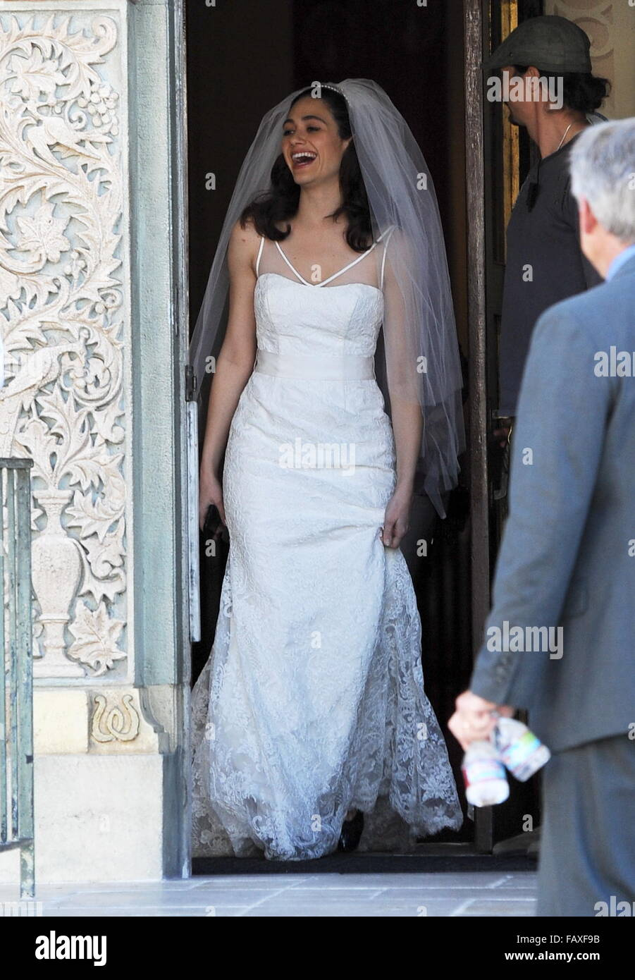 Emmy Rossum Wedding.Actress Emmy Rossum Looking Flawless In A Wedding Dress As She Stock