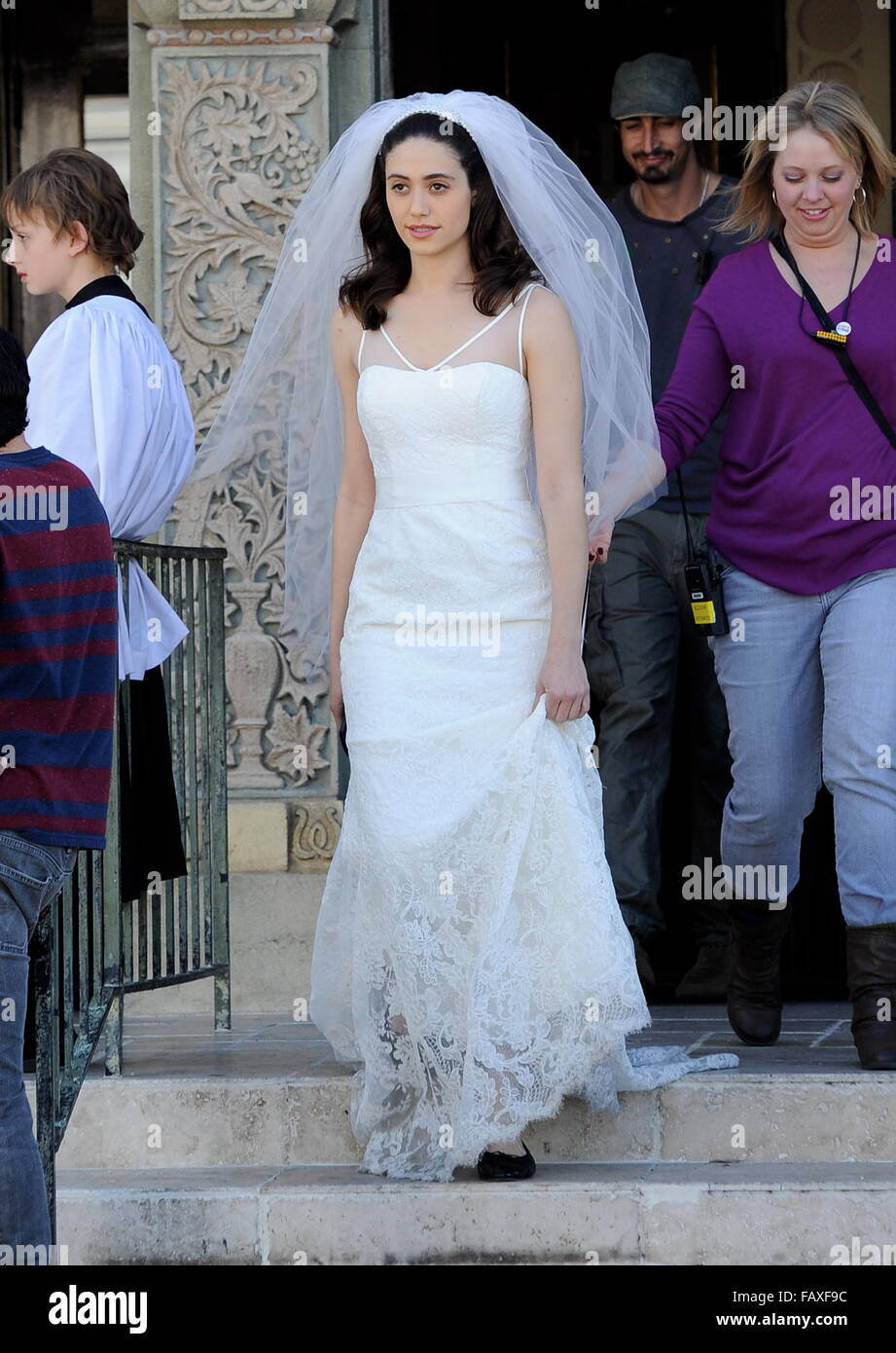Actress Emmy Rossum looking flawless in a wedding dress as she Stock ...