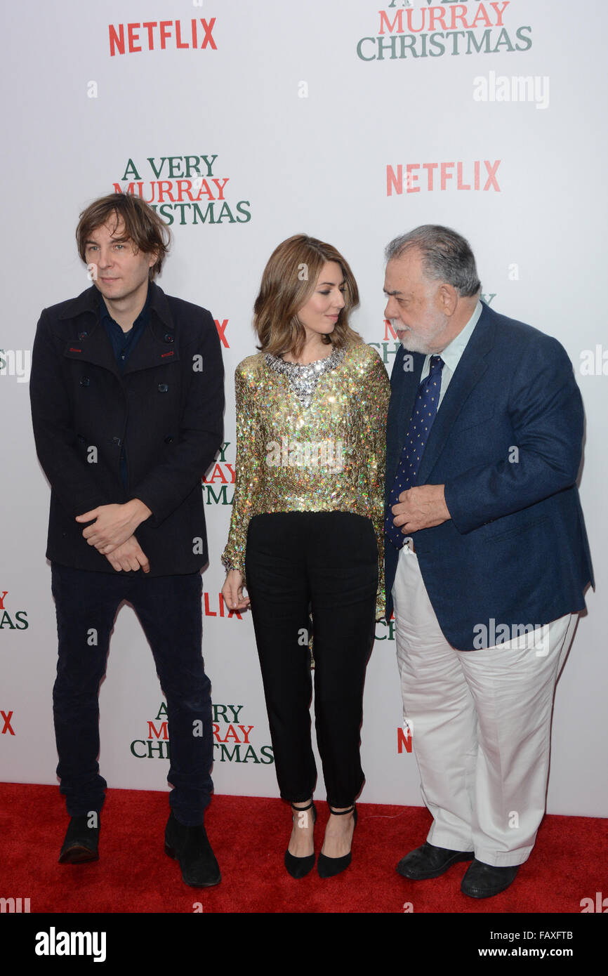 A Very Murray Christmas New York Premiere - Red Carpet Arrivals  Featuring: Sofia Coppola, Francis Ford Coppola - Stock Image