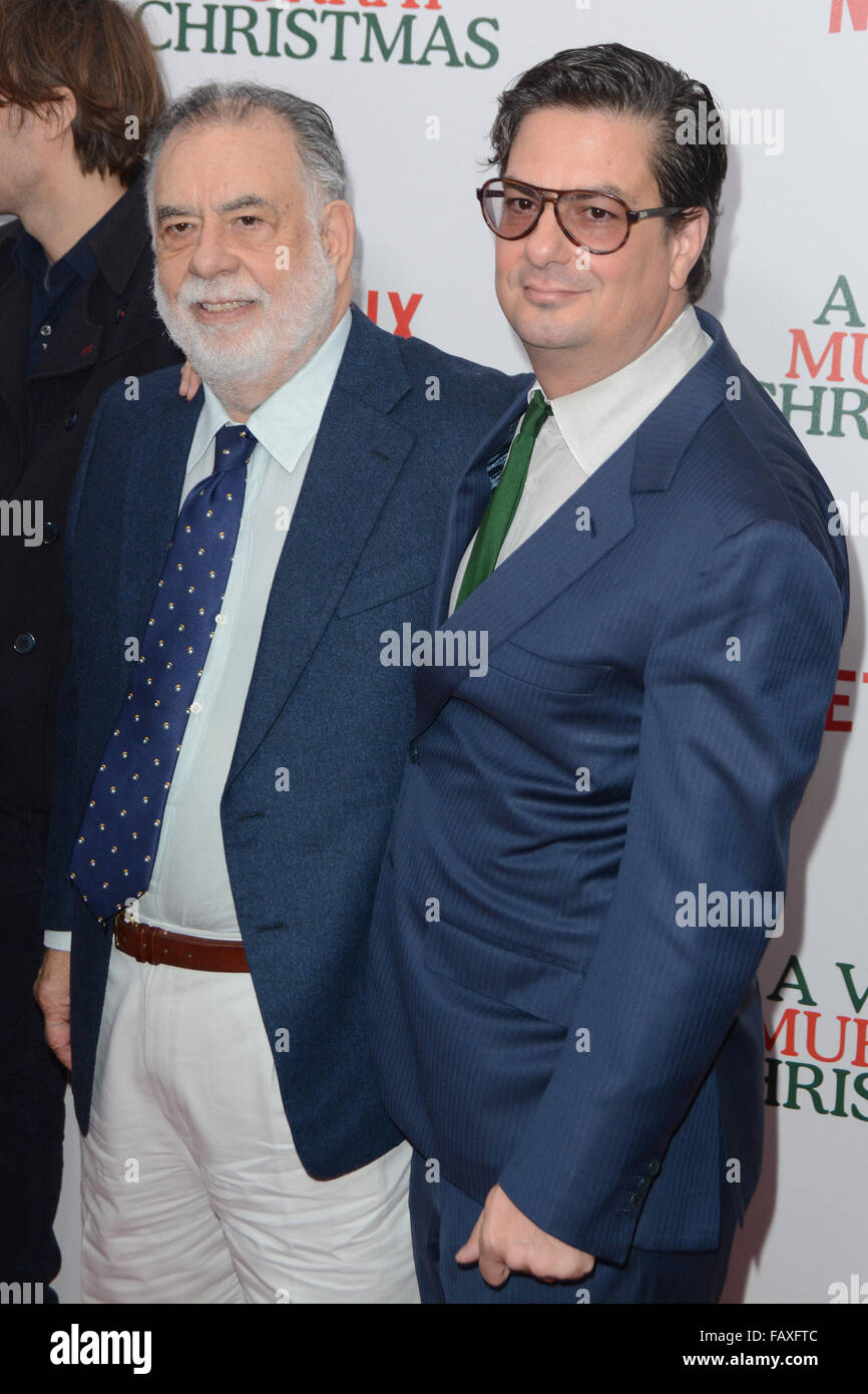 A Very Murray Christmas New York Premiere - Red Carpet Arrivals  Featuring: Francis Ford Coppola, Roman Coppola - Stock Image