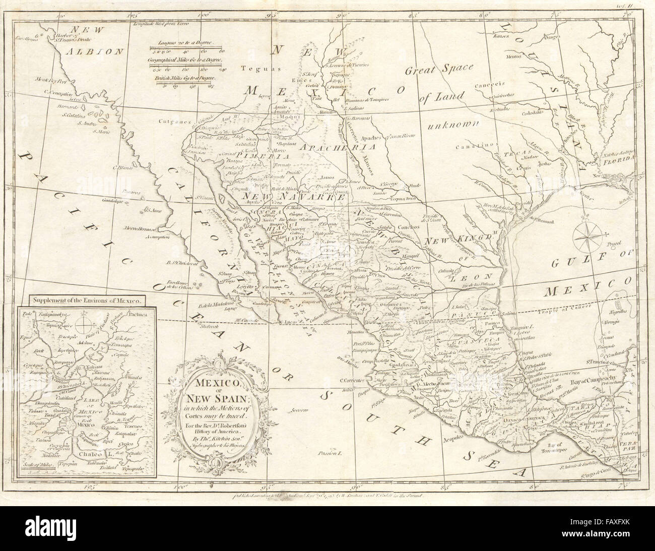 MEXICO/NEW SPAIN. 'Tecas' tribe & de la Salle's French colony in Texas, 1795 map - Stock Image