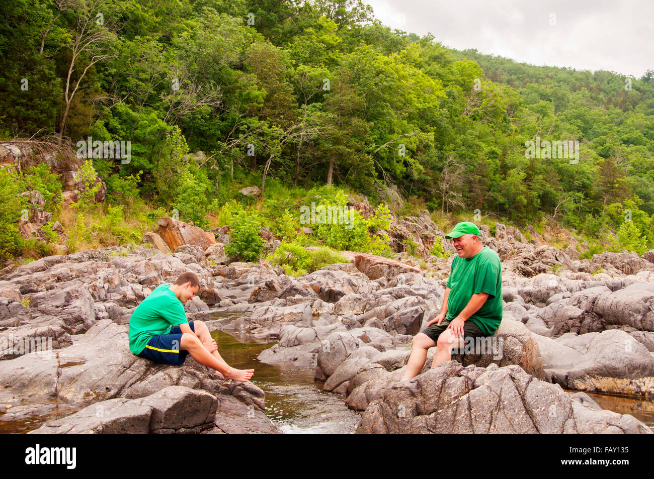 man and boy beautiful landscape - Stock Image