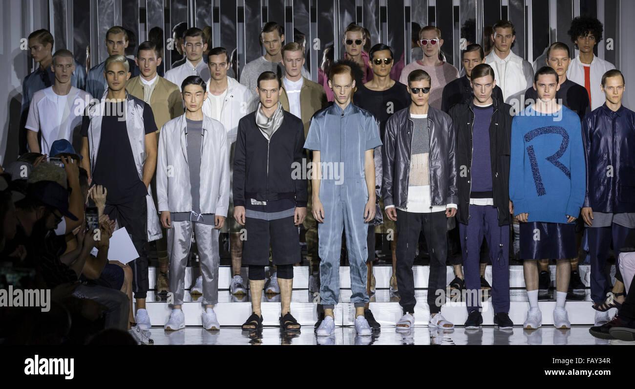 NEW YORK, NY - JULY 14, 2015: Models pose at the Rochambeau show at NY Fashion Week Men's S/S 2016 Stock Photo