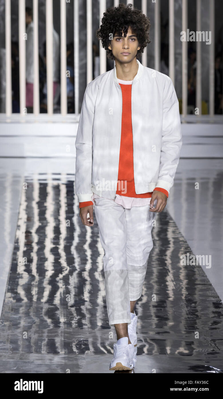 NEW YORK, NY - JULY 14, 2015: Tre Samuels walks the runway during the Rochambeau show at New York Fashion Week Men's - Stock Image