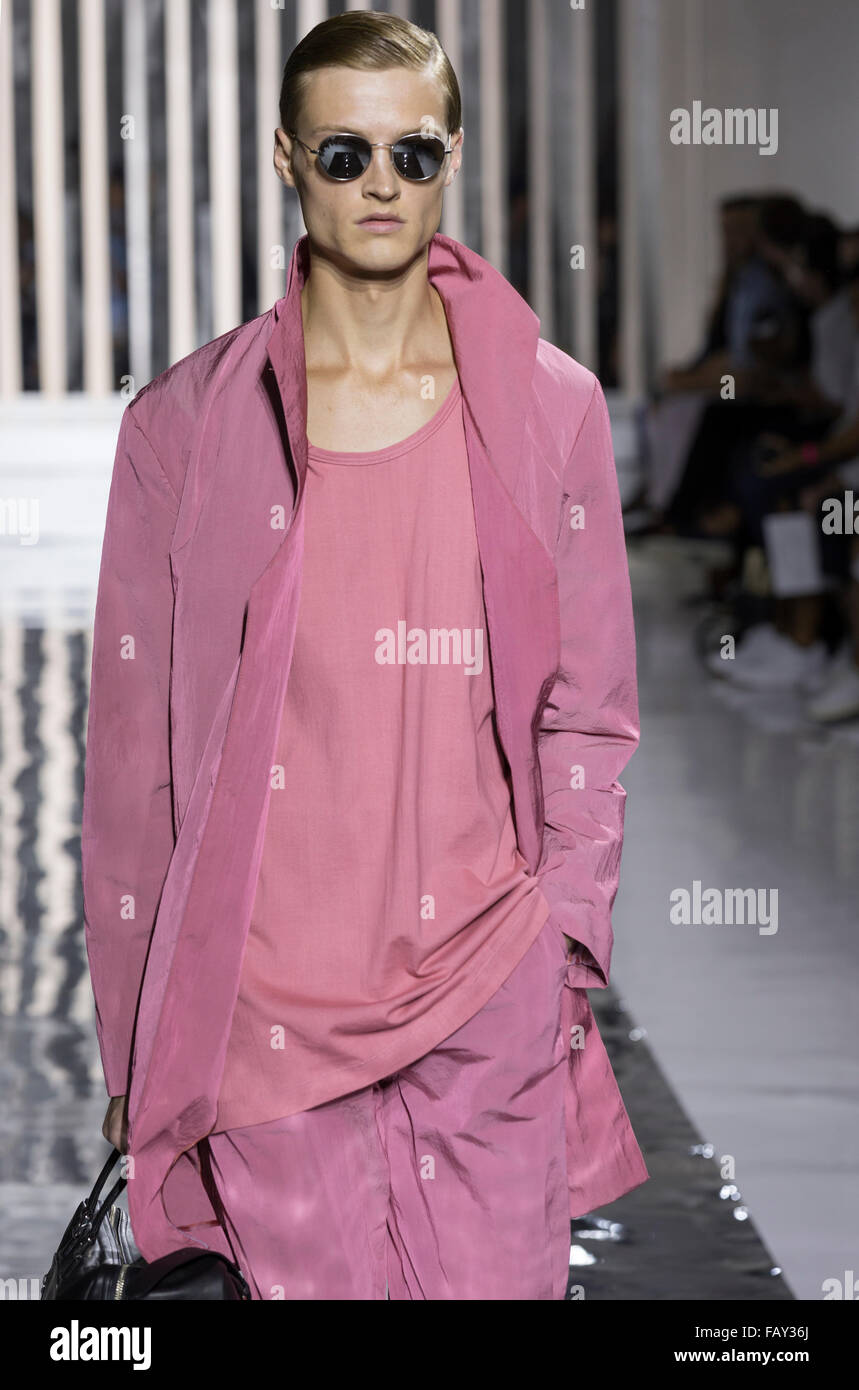 NEW YORK, NY - JULY 14, 2015: Dane Bell walks the runway during the Rochambeau show at New York Fashion Week Men's - Stock Image