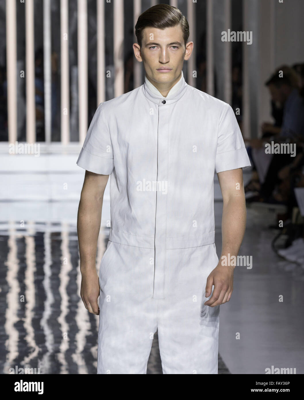 NEW YORK, NY - JULY 14, 2015: Dylan Hartigan walks the runway during the Rochambeau show at New York Fashion Week - Stock Image