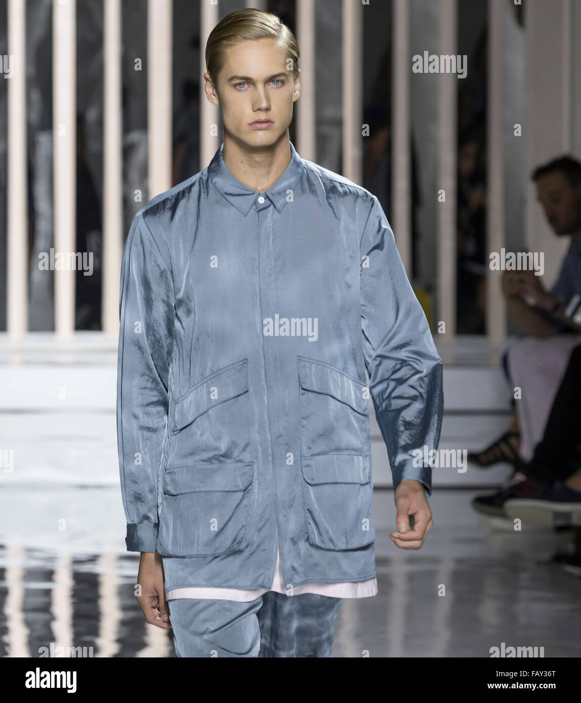 NEW YORK, NY - JULY 14, 2015: Neels Visser walks the runway during the Rochambeau show at New York Fashion Week - Stock Image