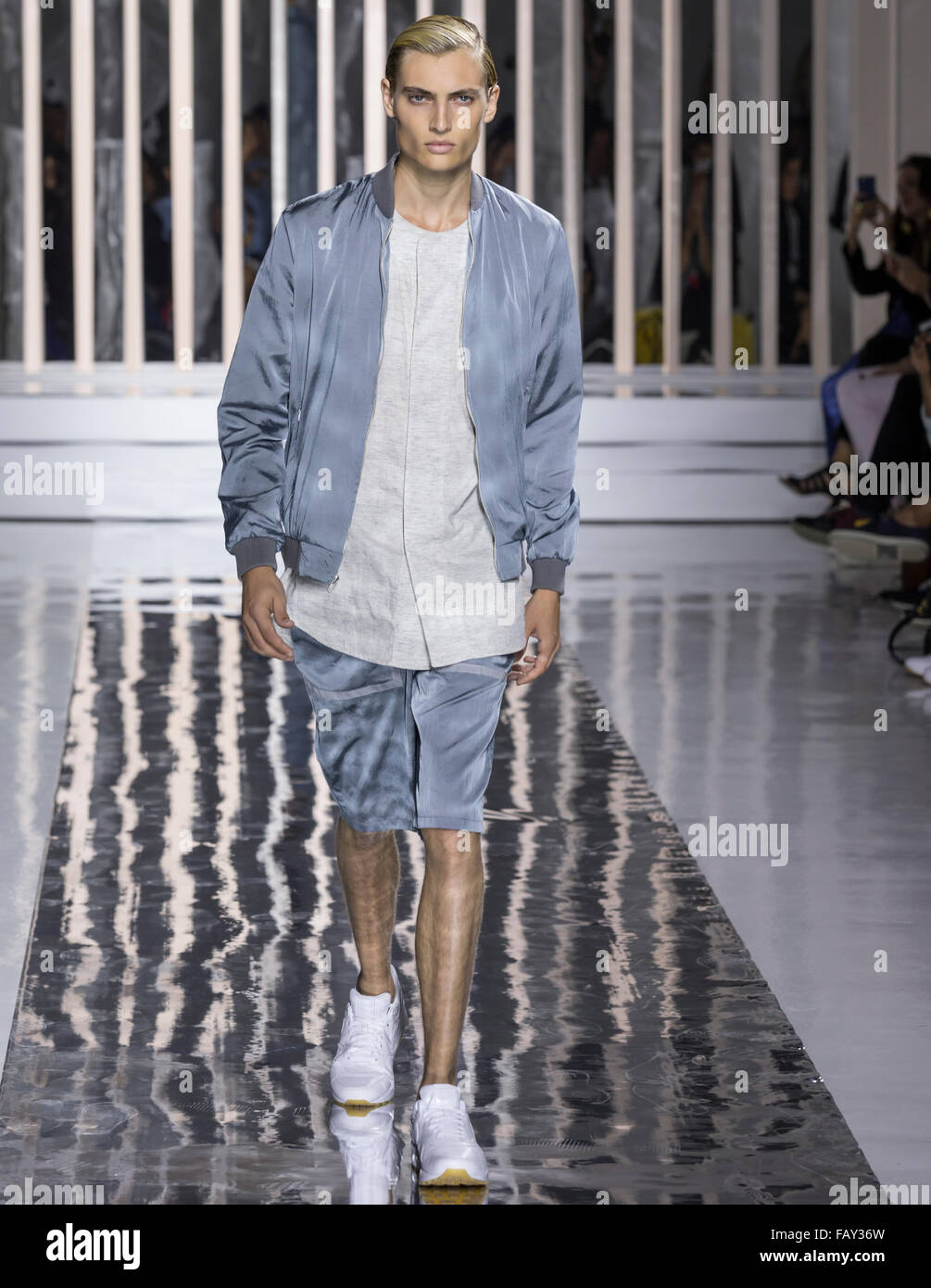 NEW YORK, NY - JULY 14, 2015: Trevor Drury walks the runway during the Rochambeau show at New York Fashion Week - Stock Image