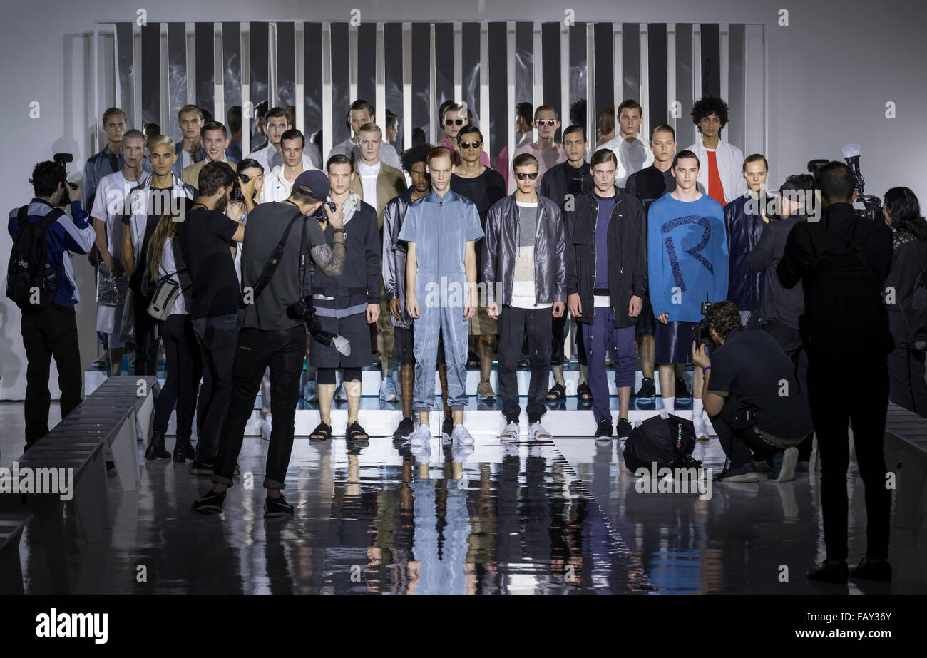 NEW YORK, NY - JULY 14, 2015: Models pose during rehearsal for the Rochambeau show at New York Fashion Week Men's - Stock Image